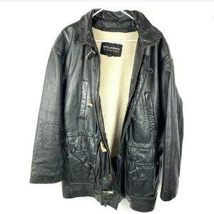 Vintage Wilson Leather Jacket Herringbone Trench